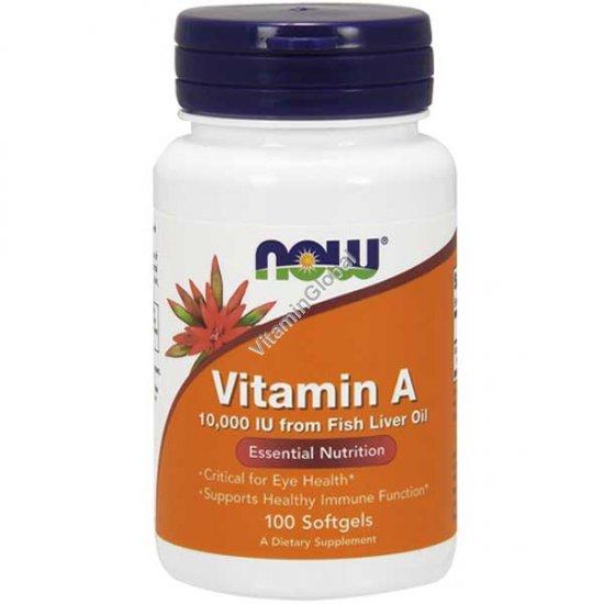 Vitamin A 10,000 IU 100 Softgels - NOW Foods