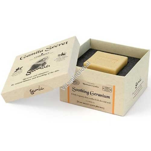 Handmade, 100% Natural Soothing Geranium Soap Bar 115g - Gamila Secret