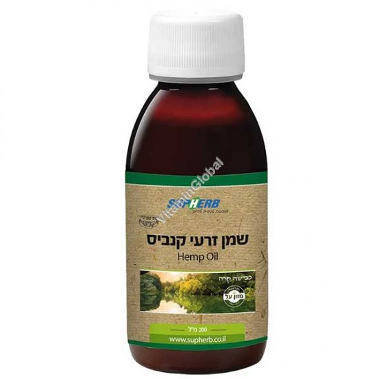 Kosher L\'Mehadrin Cold Pressed Hemp Oil 200ml - SupHerb