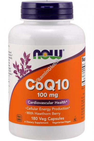 CoQ10 100mg with Hawthorn Berry 180 Vcaps - Now Foods