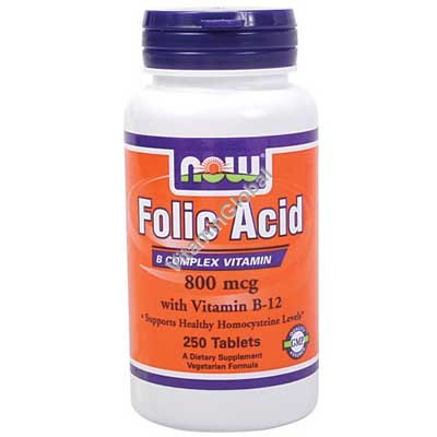 Folic Acid 800 mcg with Vitamin B-12 250 tabs - NOW Foods