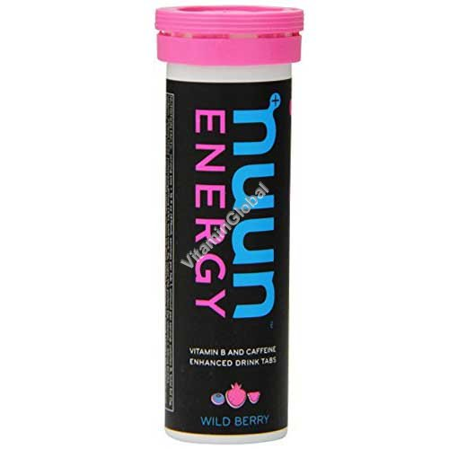 Effervescent Electrolyte & Caffeine Supplement, Wild Berry, 10 Tablets - Nuun Energy