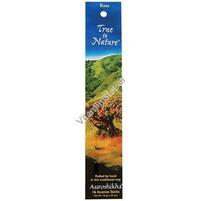 Rose Natural Incense 16 Sticks - Auroshikha