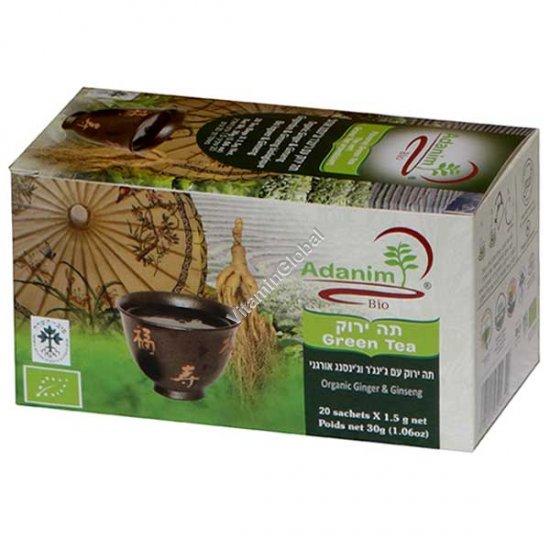 Organic Green Tea with Ginseng & Ginger 20 tea bags - Adanim
