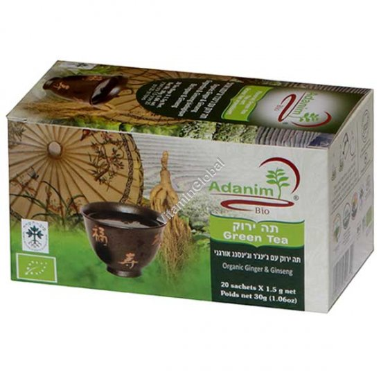 Organic Green Tea with Ginseng & Ginger 20 tea bags - Adanim