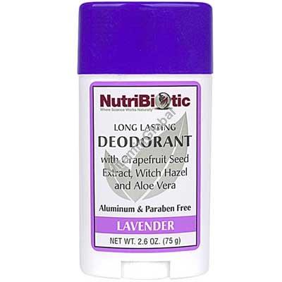 Natural Long Lasting Deodorant Stick, Lavender 75g - NutriBiotic