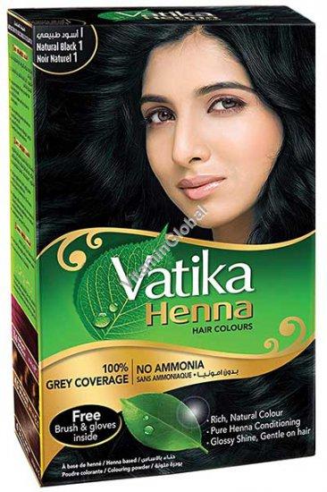 Henna Hair Colours Natural Black 60g (6 sachets of 10g each) - Vatika