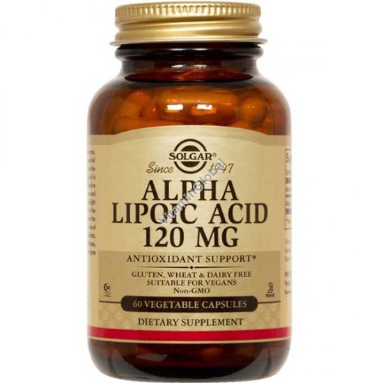 Alpha Lipoic Acid 120 mg 60 Vegetable Capsules - Solgar