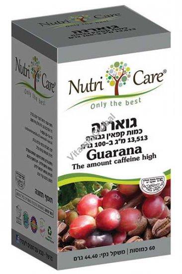 Kosher Badatz Guarana Extract 455 mg 60 Vegetal Capsules - Nutri Care