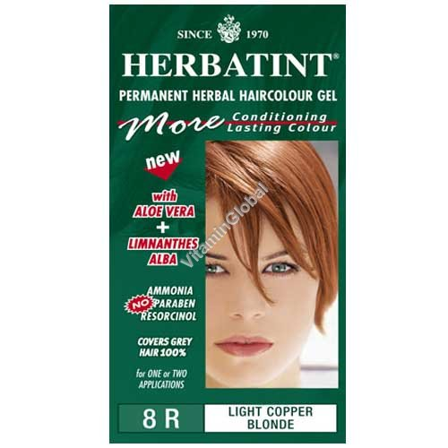 Permanent Herbal Haircolour Gel Light Copper Blonde 8R - Herbatint