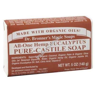 Hemp Eucalyptus Pure Castile Soap 140g (5 US OZ) - Dr. Bronner