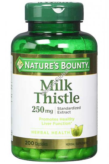 Milk Thistle Standardized Extract 250mg 200 capsules - Nature\'s Bounty