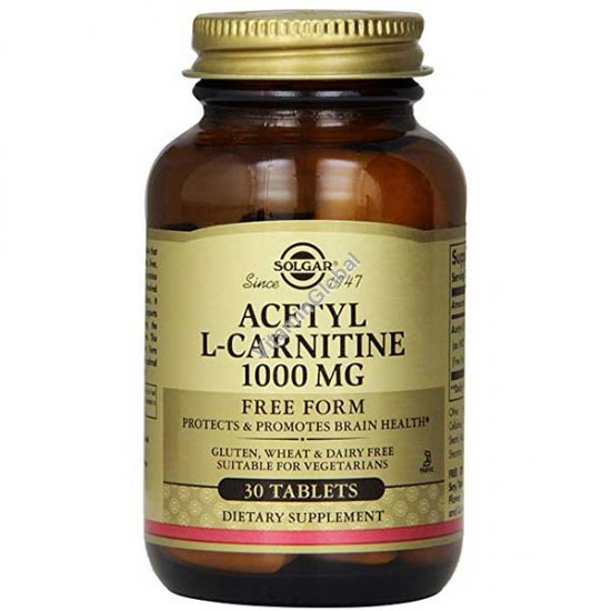 Acetyl L-Carnitine 1000 mg 30 tablets - Solgar