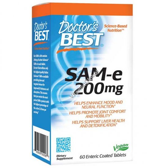 SAM-e 200 mg 60 Enteric Coated Tablets - Doctor\'s Best