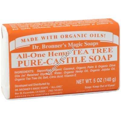 Hemp Tea Tree Pure Castile Soap 140g (5 US OZ) - Dr. Bronner