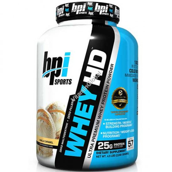 Ultra Premium Whey HD Protein Powder Vanilla Caramel 2.04 kg - bpi Sports