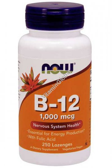 B-12 1000 mcg with Folic Acid 250 Lozenges - NOW Foods