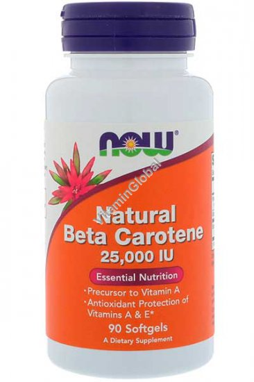 Natural Beta Carotene 25000 IU 90 softgels - Now Foods