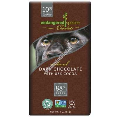 Natural Gluten Free Dark Chocolate 88% Cocoa 85g (3 oz) - Endangered Species Chocolate