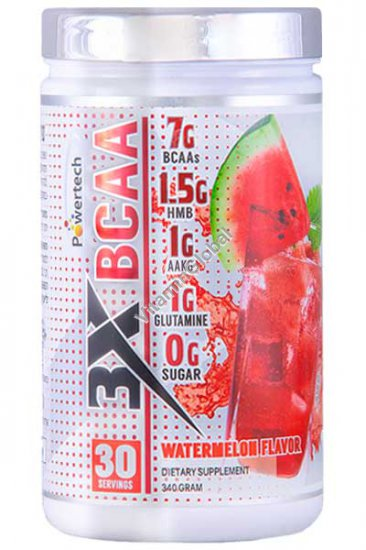 BCAA Powder Watermelon Flavor 340g (12 oz)) - PowerTech