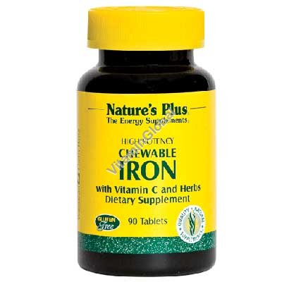 High Potency Chewable Iron with Vitamin C 90 tablets - Nature\'s Plus