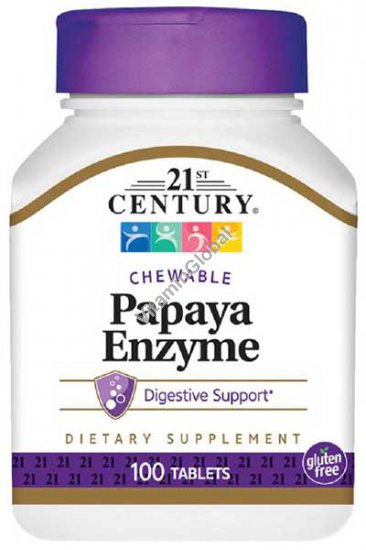 Papaya Enzyme 100 Chewable Tablets - 21st Century