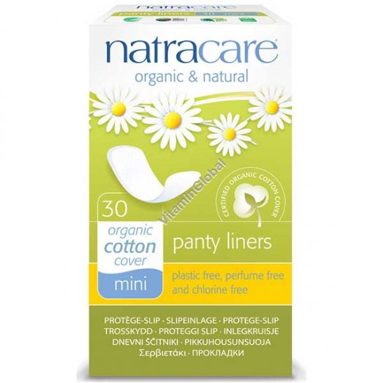 Organic & Natural Panty Liners, Mini 30 Count - Natracare