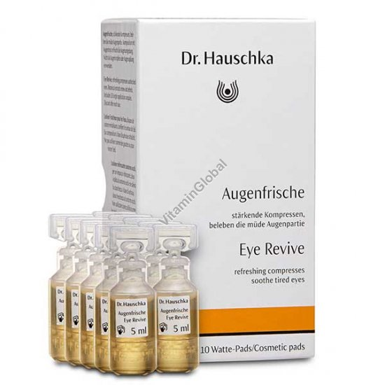 Eye Revive refreshing compresses soothe tired eyes 10 Ampoules & 10 pads - Dr. Hauschka