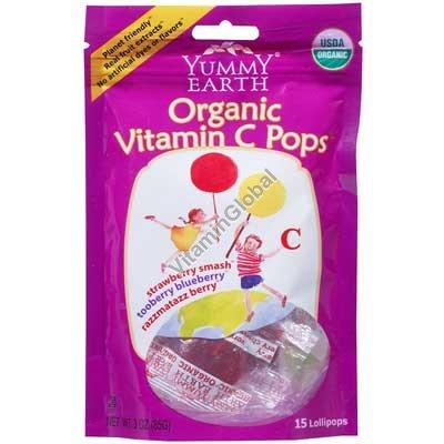 Organic Vitamin C Pops 85g (14 Lollipops) - Yummy Earth