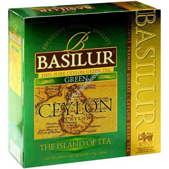"Premium Pure Ceylon Green Tea ""The Island of Tea"" 100 tea bags - Basilur"