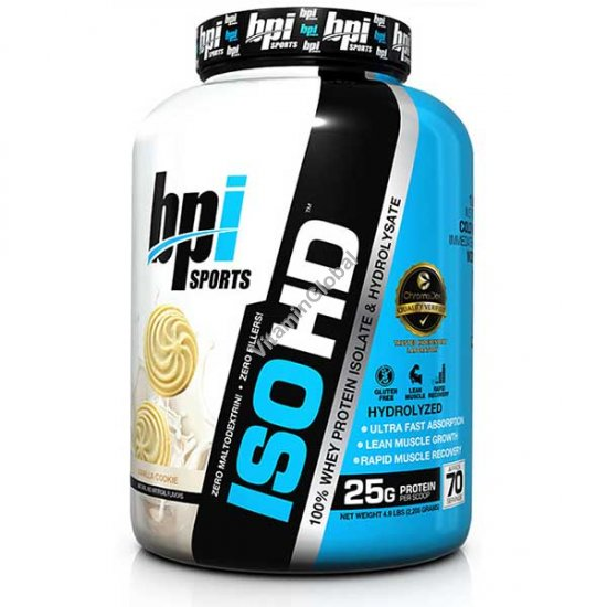 ISO HD Whey Protein Isolate & Hydrolysate Vanilla Cookie 2.205 kg - bpi Sports