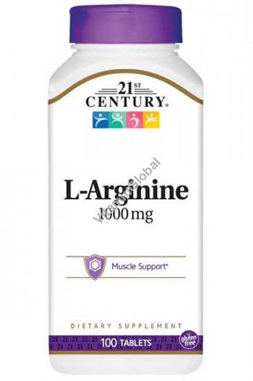 L-Arginine 1000mg Supports Immune System 100 tablets - 21st Century