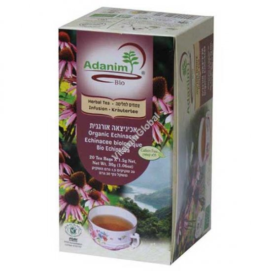 Organic Echinacea, Peppermint & Rose Hip 20 tea bags - Adanim