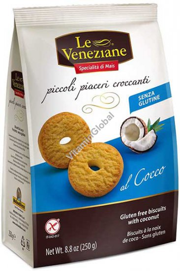 Gluten Free Biscuits with Coconut 250g (8.8 oz) - Le Veneziane