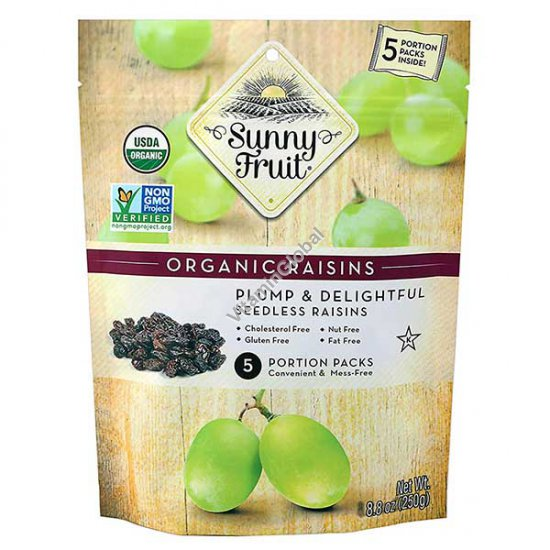 Sun-Dried Organic Sultana Raisins 250g (5 portion packs inside) - Sunny Fruit