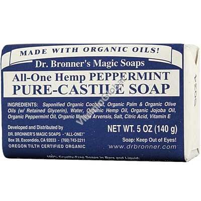 Peppermint Organic Bar Soap 140g (5 US OZ) - Dr. Bronner